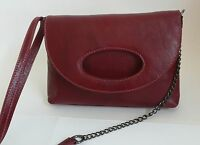 Latico Camille Cross Body Bag Purse Red Leather Card Slots Shoulder Strap