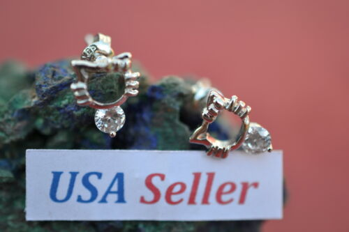 Hello Kitty Sterling Silver Earrings~ Petitie USA! Clear Austrian Crystals