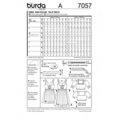 Burda Dirndl Vestido Y Folklore tela patrón de costura superior 7057