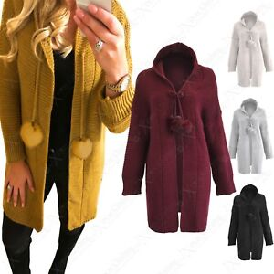 LADIES POM-POM FRONT TIE HOODED CARDIGAN WOMENS LONG FISHERMAN KNIT ... 6d9524104f