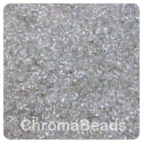 100g clair transparent verre rocailles-Choisir Taille 6//0 8//0 4, 3, 2 mm 11//0