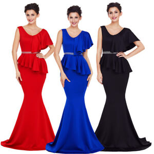 4da237ad2a Sexy Asymmetric Ruffle Peplum Mermaid Gown Formal Prom Party Long ...