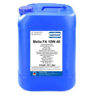 1x20l Melia Fa 10w-40 Olio Motore Per Autocarri Pesanti Camion Veicoli Commerciali 20 Litri-