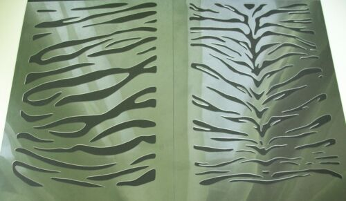 NEW 2in1 AIRBRUSH STENCILS TIGER side and back TEXTURE Painted Template Fur