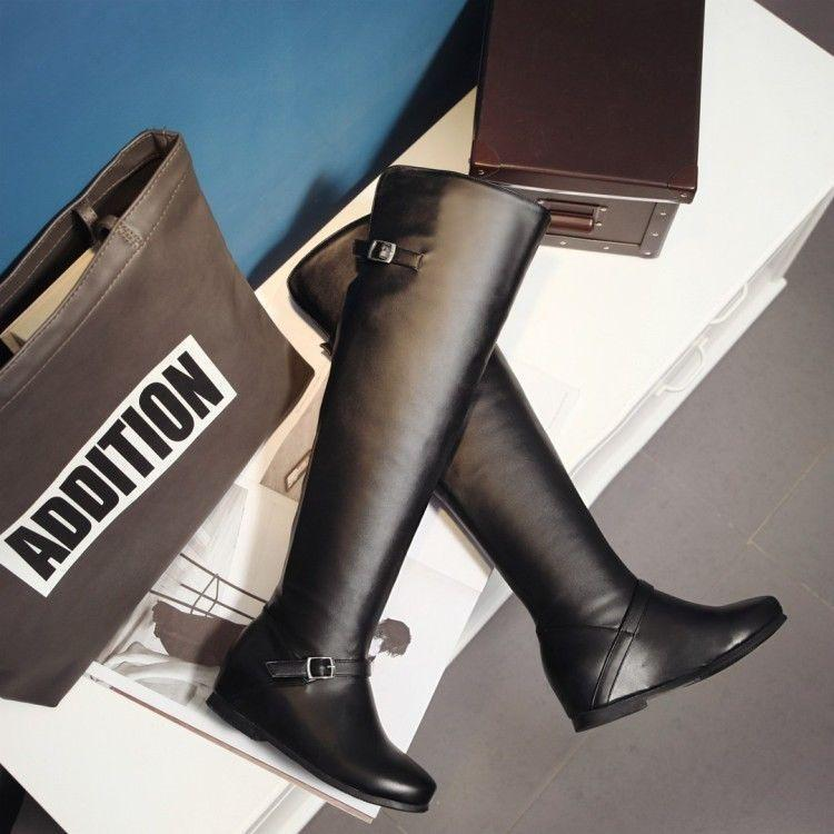 Women Hidded Wedge Faux Leather Metal Button Simple Punk Over The Knee Boot W973
