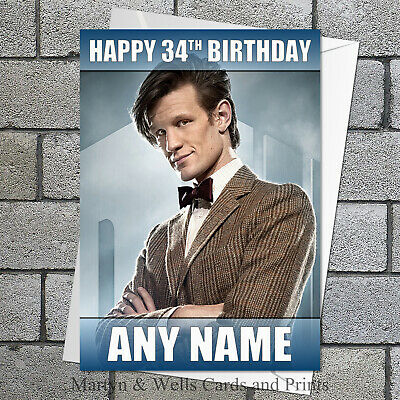 Lego Dr Who personalised birthday card 5x7 inches.