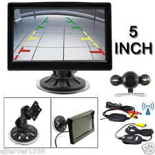 "5"" Suction Rear View Monitor+12V Wireless Car Backup Camera Night Vision System"