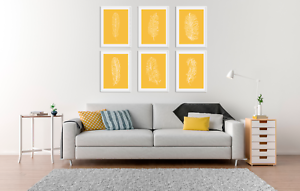 Image Is Loading Feather Prints Set Minimalist Colour Pictures Living Room