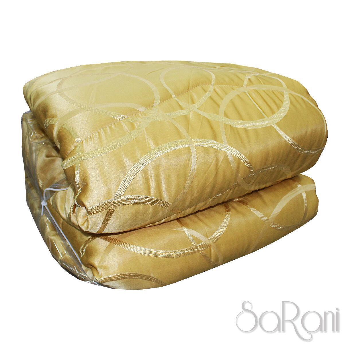 Winter Quilt Duvet Elegant Modern Satin Pattern Circles Gold SARANI