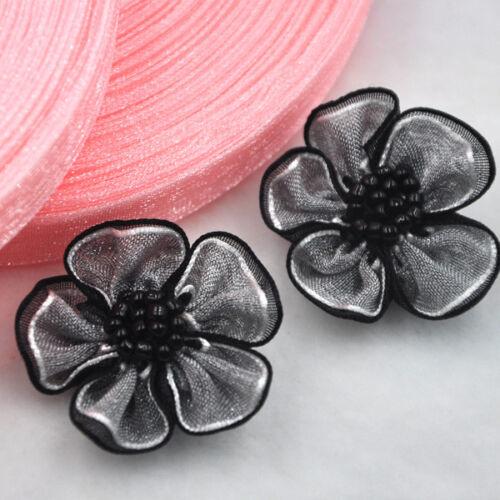 40 un. según se elección Arcos de la cinta de flores de Organza Apliques Artesanía Boda DEC A08