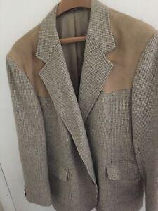 Mens-Pendleton-Wool-Sportcoat-Houndstooth-Tweed-Suede-Yoke-Elbow-Patches-Tan