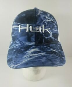 New-w-Tag-Huk-Performance-Fishing-Head-Wear-Elements-Blue-Logo-Trucker-Cap-Hat