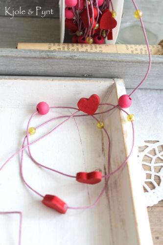 3,5m Herzchenkordel Herz Kordel Holz Perlenband Perlen pink rosa 1€//m