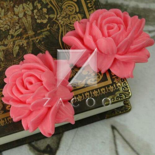 2//9pcs Resin Flatback Cabochons Cameo Flower Embellishments 46x36x18mm OBRB0541