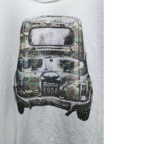 Maglietta donna maglia t-shirt cotone manica corta semi aderente stampa 00992