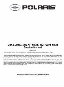 2014 2015 polaris rzr xp 1000 xp4 1000 utv service manual on cd ebay rh ebay com 2014 polaris rzr xp 1000 service manual 2014 polaris rzr 570 service manual