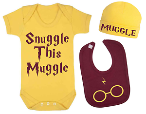 Snuggle this Muggle Harry Potter Inspired Baby Vest Hat and Bib Set Baby Gifts