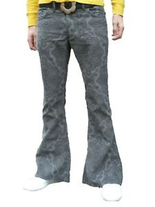 FLARES-Grey-Paisley-Mens-Bell-Bottoms-Corduroy-Pants-vtg-Hippie-trousers-60-039-s