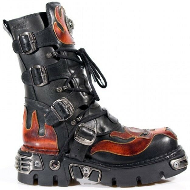 NEUrock NEU Rock 107-S1 Leder ROT Skull Devil schwarz Leder 107-S1 Boot Biker Goth Rock Stiefel db8098