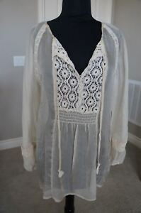 NEW-4-Love-amp-Liberty-Johnny-Was-Silk-amp-Lace-Neck-Tie-Blouse-Top-Tunic-Ecru-S