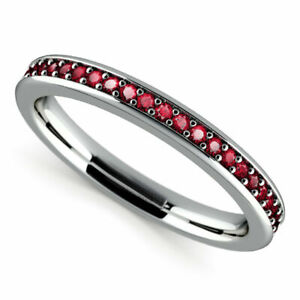 0.78 Ct Real Ruby Wedding Ring 14K real White Gold Eternity Band Size L1/2 M N P