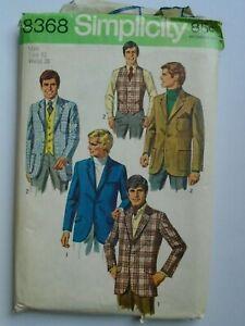 Simplicity 8368 Vintage men's suit jacket size 42 from 1969