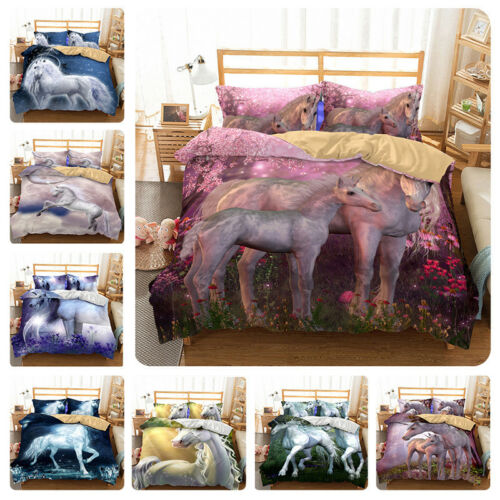 Unicorn Kids Bedding Set Duvet Cover Animal 3D Print Quilt Cover Pillow Case