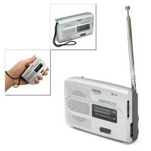 Radio de Bolsillo Plateada Portatil Mini FM/AM 2 Bandas a Pilas Jack