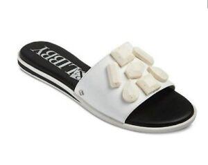 NWT-SAM-amp-LIBBY-Womens-039-Cami-039-embellished-slides-sandals-White-w-cream-5-6-7