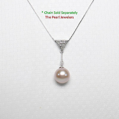14k Yellow Gold Rabbit-Ear Bail; Diamond /& 8mm White Cultured Pearl Pendant TPJ