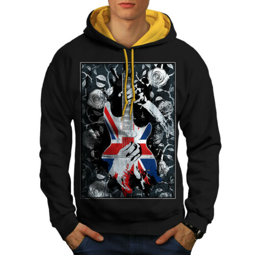 Hood Bass Rose New Guitar Men Flag Uk gold Hoodie Black Contrast r5rPqvA