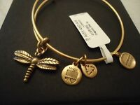 Authentic Alex And Ani Dragonfly Russian Gold Charm Bangle W/tag Card & Box