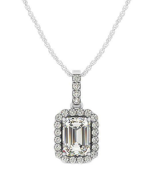1.45 Carat Emerald Cut Diamond Ladies Pendant GIA Certified 18k White gold