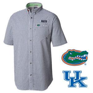 Columbia-Men-039-s-NCAA-NPlaid-PFG-CLG-Super-Harborside-S-S-Woven-Shirt-Retail-80