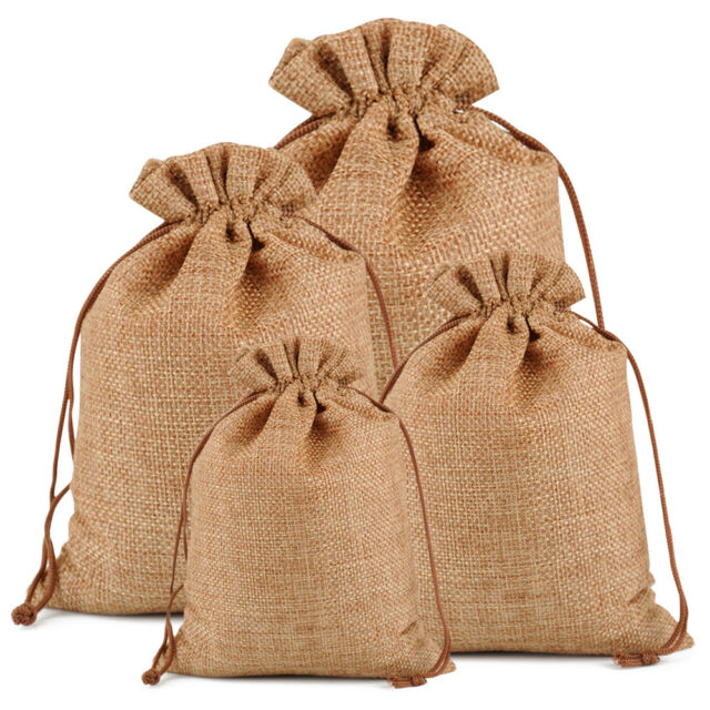 Wedding Party Favours Rustic Hessian pull string bag Beige with heart decoration
