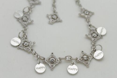 Women Boot Bracelet Silver Metal Chain Bling Beads Anklet Happy Charm Rhinestone