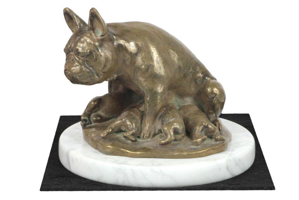 Bouledogue français - figurina con un cane su marmo bianco Art Dog IT