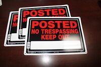 Posted No Trespassing Keep Out - 3 Set 10 X 14 Aluminum Metal Sign Hillman