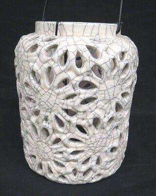 Cream Lantern Style Ceramic Candle Holder, Crackle Effect, Handle, Metal Insert