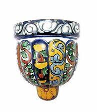 Talavera Mexican Folk Art Hand Painted Pottery Wall Pocket Planter