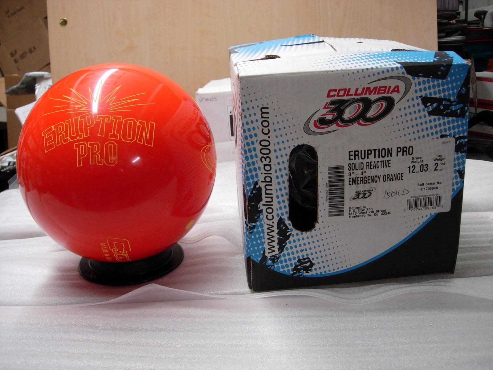 12oz, TW 2-3 4, Pin 3-4, NIB Columbia 2014 ERUPTION PRO Bowling Ball