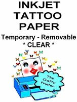 Inkjet Printer Tattoo Paper - Two Sheets -temporary - Removable