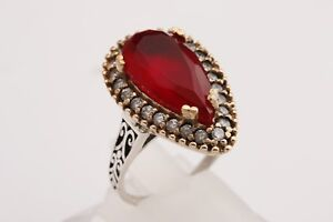 Turkish-Handmade-Jewelry-Drop-Pink-Ruby-Topaz-925-Sterling-Silver-Ring-Size-8-5