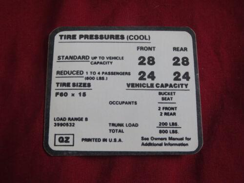 1971 1972 CHEVROLET CAMARO Z28 Z/28 Z-28 w F60x15 TIRE PRESSURE DECAL NEW