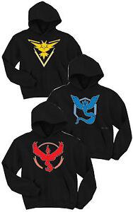 Unisex-Hooded-Sweatshirt-Black-3-type-Pokemon-Go-Team-MYSTIC-VALOR-INSTINCT