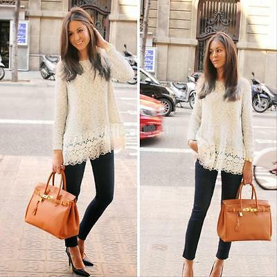 Sexy Lace Long Sleeve Loose Top Fashion Women Casual T-Shirt Blouse Sweater New