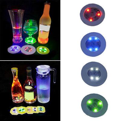 Colorful Luminous Bottle LED Light Cup Sticker Mat Coaster Bar Party Decor D1N5