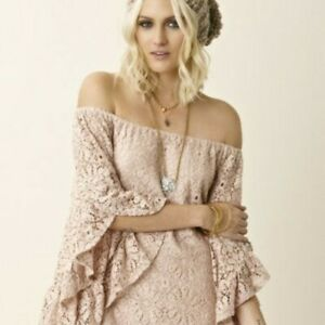 Details About Jens Pirate Booty Free People Bardot Pink Lace Off Shoulder Mini Dress Xss