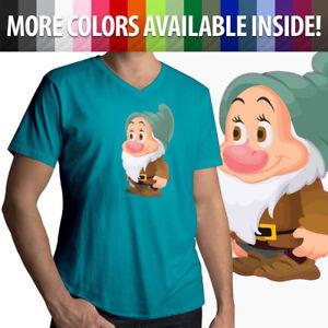 Snow-White-7-Dwarfs-Bashful-Disney-Mens-Women-Unisex-Tee-V-Neck-T-Shirt-Cotton