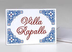 Targhette In Ceramica Per Porte.Targa Villa Benvenuto In Ceramica 20x30 Cm Fuori Porta Numero